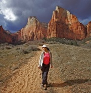 hiker in zion